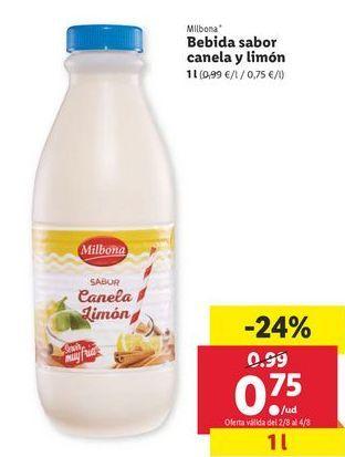 Oferta de Bebidas sabor caneloa y limón  Milbona por 0,75€