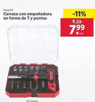 Oferta de Carraca con empuñadora en forma de t y puntas  Powerfix por 7,99€