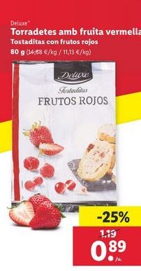 Oferta de Tostaditas con frutos rojos Deluxe por 0,89€
