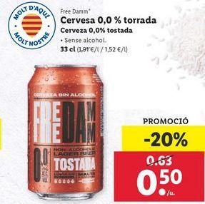 Oferta de Cerveza 0,0% torrada Free Damm por 0,5€