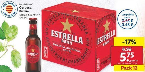 Oferta de Cerveza Estrella Damm por 5,75€