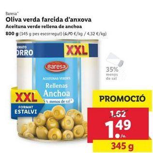 Oferta de Aceitunas verde rellena de anchoa Baresa por 1,49€