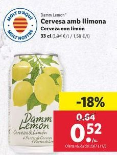 Oferta de Cerveza con limón damm Lemon por 0,52€