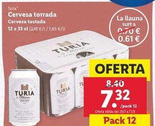 Oferta de Cerveza tostada Turia por 7,32€