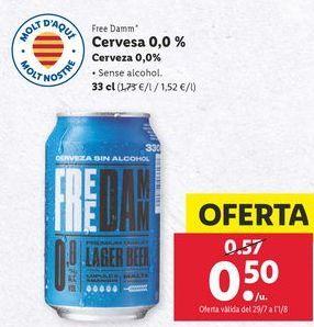 Oferta de Cerveza sin alcohol Free Damm por 0,5€