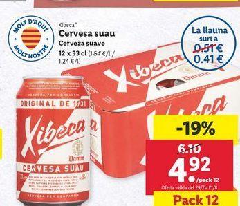 Oferta de Cerveza suave Xibeca por 4,92€