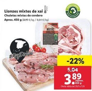 Oferta de Chuletas mixta de cordero por 3,89€