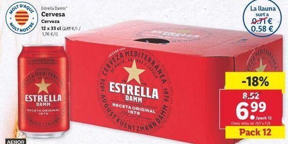 Oferta de Cerveza Estrella Damm por 6,99€