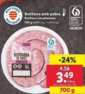 Oferta de Butifarra con pimienta  por 3,49€