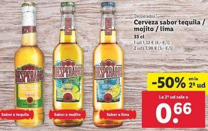 Oferta de Cerveza sabor tequila/mojito/lima Desperados por 0,32€