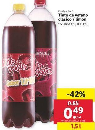 Oferta de Tinto de verano clásico/ Limón   por 0,49€