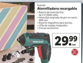 Oferta de Atornillador recargable Parkside por 27,99€