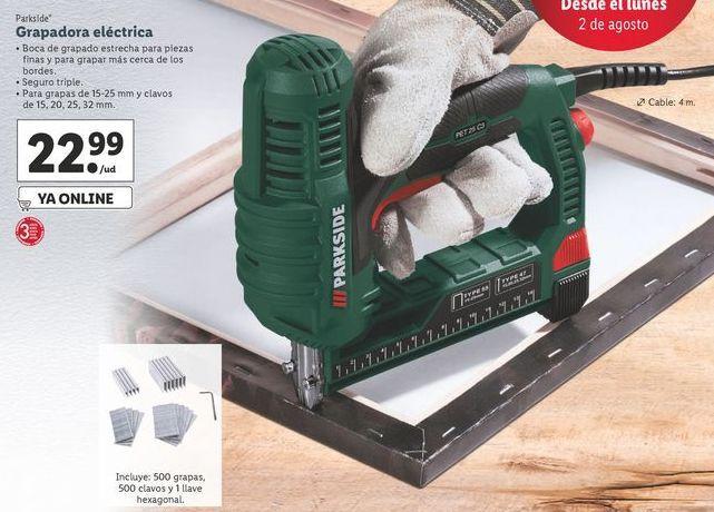 Oferta de Grapadora eléctrica Parkside por 22,99€