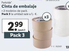 Oferta de Cinta de embalar Parkside por 2,99€