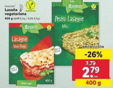 Oferta de Lasaña vegetariana Vemondo  por 2,79€