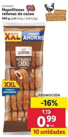 Oferta de Napolitanas rellenas de cacao La Cestera por 0,99€