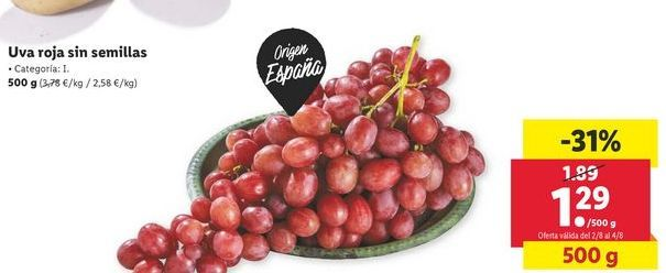 Oferta de Uvas rojas sin semillas  por 1,29€
