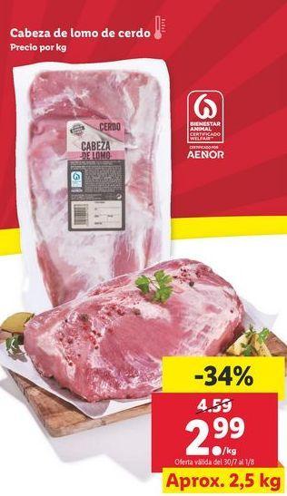 Oferta de Cabeza de lomo de cerdo  por 2,99€