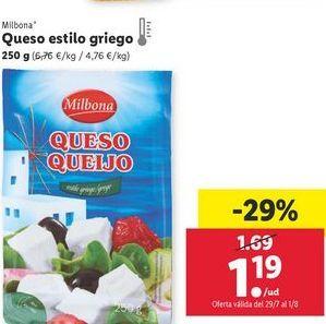 Oferta de Queso estilo griego Milbona por 1,19€