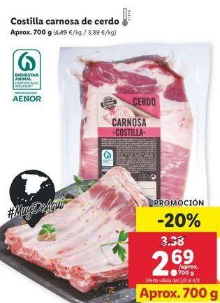 Oferta de Costillas carnosa de cerdo por 2,69€