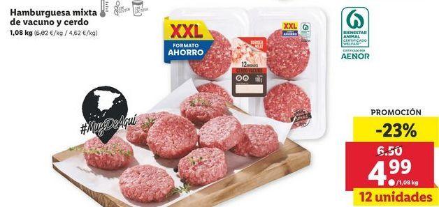 Oferta de Hamburguesas mixta de vacuno  y cerdo  por 4,99€