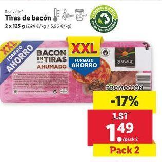 Oferta de Tiras de bacon Realvalle por 1,49€