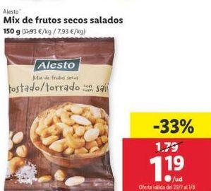 Oferta de Mix de frutos secos salados Alesto por 1,19€