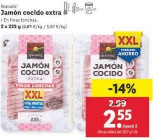 Oferta de Jamón cocido extra Realvalle por 2,55€