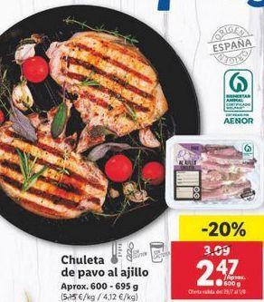 Oferta de Chuletas de pavo al ajillo  por 2,47€