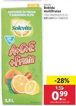 Oferta de Bebidas multifrutas solevita por 0,99€