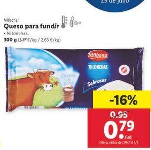 Oferta de Queso para fundir Milbona por 0,79€