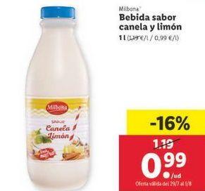 Oferta de Bebidas sabor canela y limón Milbona por 0,99€