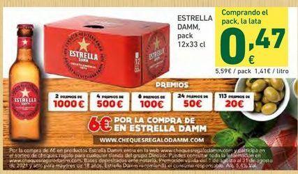 Oferta de Cerveza Estrella Damm por 5,59€