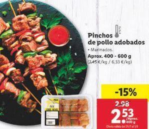 Oferta de Pinchos de pollo adobado  por 2,53€