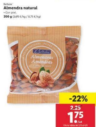 Oferta de Almendras natural Belbake por 1,75€