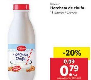Oferta de Horchata de chufa Milbona por 0,79€