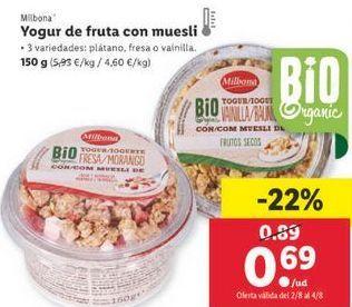 Oferta de Yogur con frutas Milbona por 0,69€