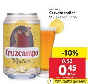 Oferta de Cerveza radler Cruzcampo por 0,45€