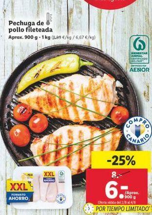 Oferta de Pechuga de pollo fileteada  por 6€