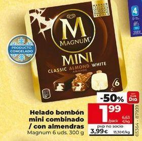 Oferta de Helado bombón mini combinado/con almendras Magnum 6 uds. 300 g por 3,99€