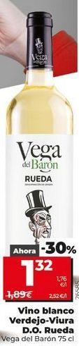 Oferta de  Vino blanco Verdejo-Viura D.O  Rueda Vega del Barón  75 cl por 1,32€