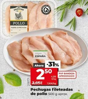 Oferta de Pechuga de pollo fileteadas 500 g aprox por 2,5€