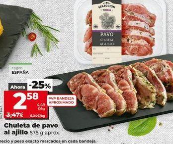 Oferta de Chuletas de pavo al ajillo 575 g aprox. por 2,58€