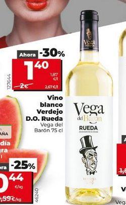 Oferta de Vino blanco Verdejo D.O Rueda Vega del Barón 75 cl por 1,4€