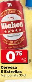 Oferta de Cerveza Mahou 5 Estrellas lata 33 cl por 0,75€