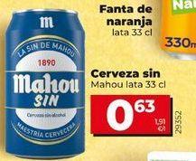 Oferta de Cerveza sin Mahou lata 33cl por 0,63€