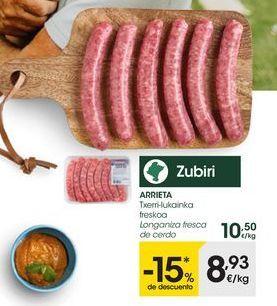 Oferta de Longaniza de cerdo ibérico Arrieta por 8,93€