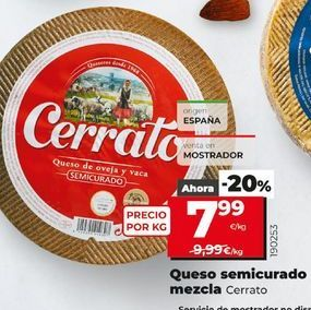 Oferta de Queso semicurado Cerrato por 7,99€
