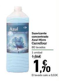 Oferta de Suavizante concentrado Azul Micro Carrefour por 1,7€