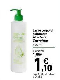Oferta de Leche corporal hidratante Aloe Vera Carrefour por 1,1€